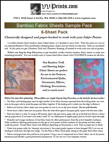 [Bamboo Sheeting and Twill Inkjet Printable Fabric Sheets]