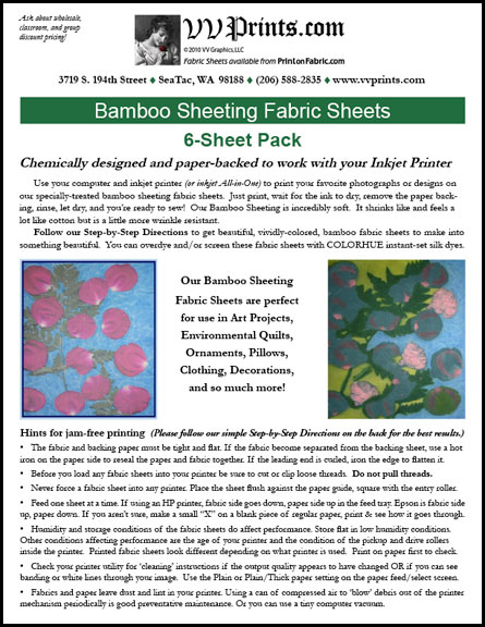 [Bamboo Sheeting Inkjet Printable Fabric Sheets]
