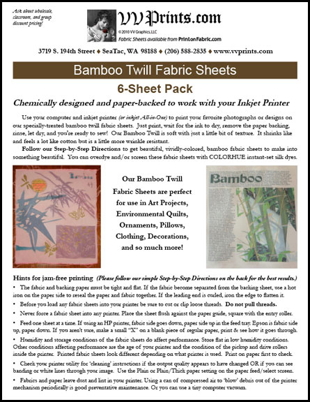 [Bamboo Twill Inkjet Printable Fabric Sheets]