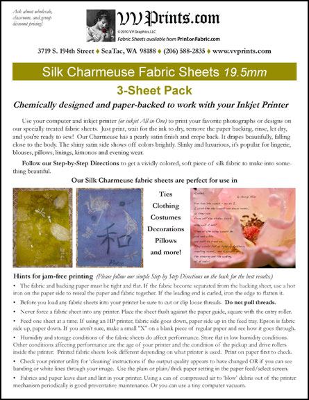 [Silk Charmeuse Inkjet Printable Fabric Sheets]