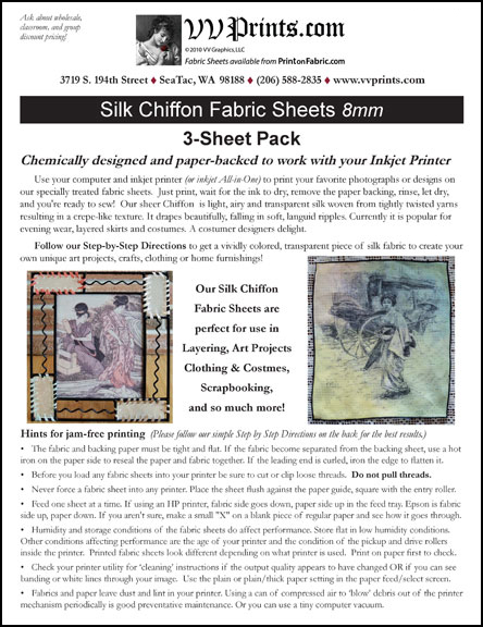 [Silk Chiffon Inkjet Printable Fabric Sheets]