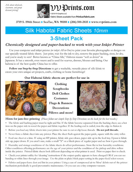 [Silk Habotai Inkjet Printable Fabric Sheets]