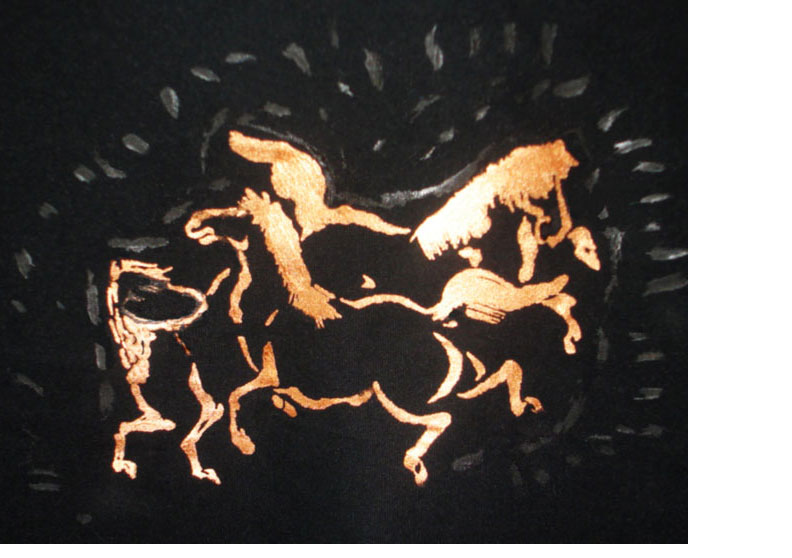 [Horses playing in the mud  Silkscreen on black Polynosic Shirt with Jacquard Lumiere Gold Paint]