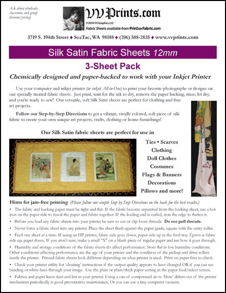 [Silk Satin Inkjet Printable Fabric Sheets]