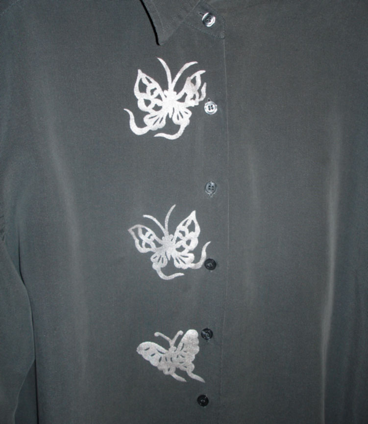 [Polynosic Steel Shirt with  Silver Lumiere Paint Silkscreened with Butterflies]